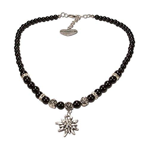 Alpenflüstern Perlen-Trachtenkette Fiona mit Strass-Edelweiß klein - Damen-Trachtenschmuck Dirndlkette schwarz DHK122