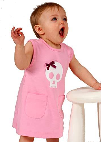 Baby Moo's - Vestido para niña de entre 2-3 años, con diseño de calavera y lazo rosa rosa Talla:0-6 meses