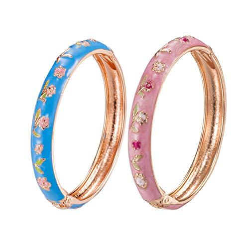 UJOY Baby Bracelet Set of 2 Flower Butterfly Bangle Handmade Enamel Gold Plated Jewelry(Pink-Blue)