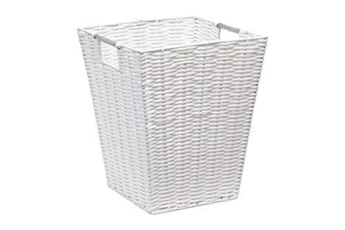 ARPAN Papierkorb, weiß, Harz, Kunststoff, stark, quadratisch, ideal für Zuhause, Büro, Hotels