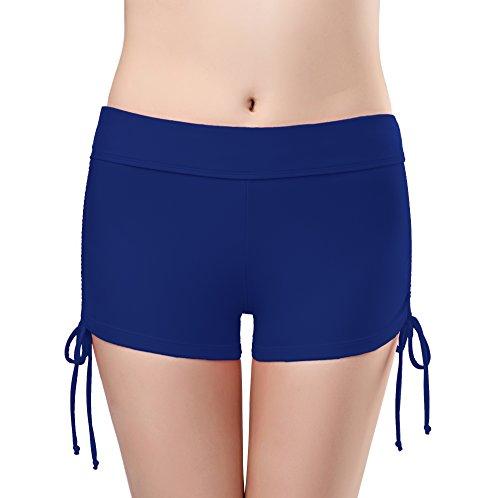 SHEKINI Bikini Bottom da Donna Pantaloni Regolabile Costume a Pantaloncino da Nuoto Pantaloncini da Surfe Costumi da Bagno Fitness Sport Pant Nuovi (Blu Scuro, Small)