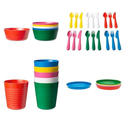 IKEA 36-teiliges Set von Kalas Kids aus BPA-freiem Kunststoff, Schüssel, Teller, Becher, bunt.