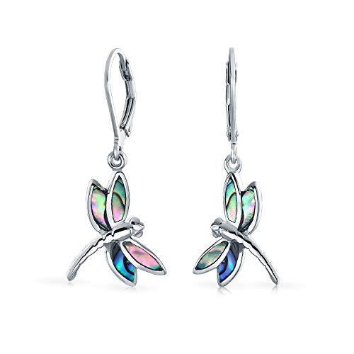 Libelle Garten Regenbogen Abalone Muschel Eingelegt Drop Leverback Ohrringe Für Frauen Für Teen 925 Sterling Silber