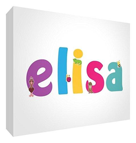 Little Helper LHV-ELISA-A6BLK-15IT Pannello Decorativo Neonato/Battesimo Idea Regalo, Disegno Personalizzabile con Nome da Ragazza Elisa, Multicolore, 10.5 x 14.8 x 2 cm