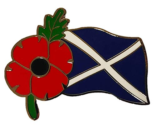 Fast Delivery! St Andrew's Flag Scotland World War Soldier Veteran Red Poppy Brooch Metal Pin Badge