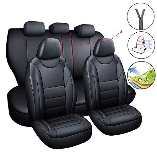 Tuhu-auto Autositzbezug Universal Leder Wasserdicht Autozubehör Für Limousine Pickup SUV Schwarz/Beige (Schwarz)
