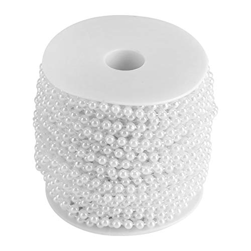 Delaman Bead Curtain 30m/roll 5mm Artificial Pearl DIY Ornaments Beads Curtain Wedding/Event/Festival Party Decor Wedding Accessories(White)