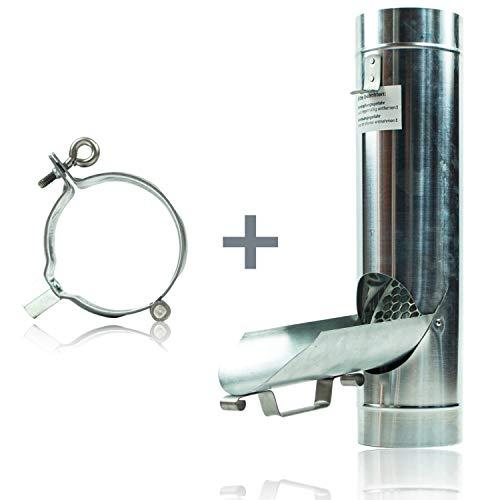 2er Set aus Zink Regenrohrklappe 100 mm mit Sieb und Fallrohrschelle verzinkt mit M8/M10 Gewindeanschluss für Fallrohr - Einfache und schnelle Montage dank passender Komponenten