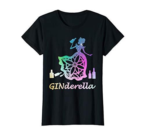 Damen Ginderella Jungesellinnenabschied Gin JGA Trinksprüche T-Shirt