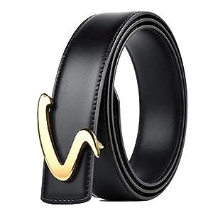 紳士 ベルト 革のバックルベルトベルトのスクラッチ耐症滑らかなバックルカジュアルユーススクラブ装飾ベルトのメンズパンツ 無段階調節 高級感 (Color : Black, Size : 110cm)