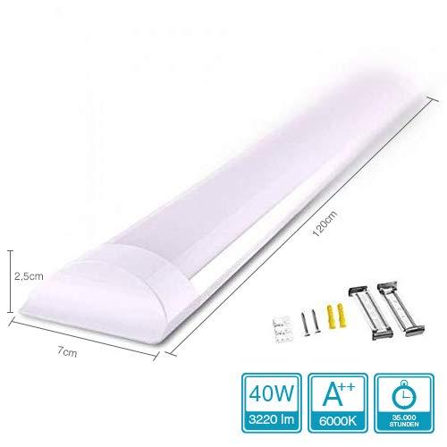 Specilights 40W Plafond-Lamp - LED-Batten Armatuur - LED-Lamp - 120cm - 120 ° Lichtstraal Inclusief Montagebeugels en Schroeven (6000k)