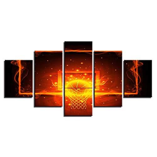 WZMFBH Poster Framework Modular Paintings Leinwand 5 Stück Feuer und Ball Hoop Basketball Bilder Wandkunst Dekor Raum Moderne HD-Druck