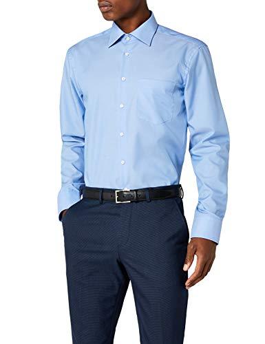 Seidensticker Herren Business Hemd Regular Fit , Kent-Kragen & Brusttasche, Blau, 42