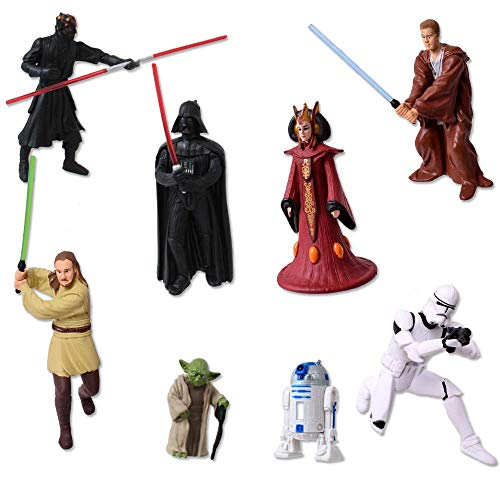 TE-Trend 8 Stück Star Wars Schlüsselanhänger Anhänger Figuren Darth Vader Yoda Stormtrooper R2D2 Amidala Obi Wan Kenobi Mehrfarbig