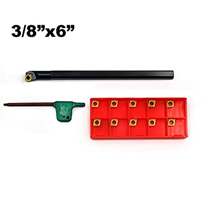 OSCARBIDE Indexable Boring Bar 3/8'' x 6'' Overall Length Right-Hand Sclcr Boring Bar with 10 Pieces CCMT21.51(CCMT060204)