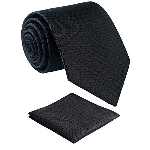 Fortunatever Mens Solid Neckties,Black Ties For Men With Pocket Square+Gift Box,58'×3.35'