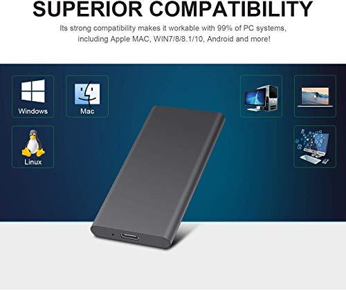 Disco duro externo portátil - Dispositivos de almacenamiento de disco duro de 1 TB y 2 TB compatibles con PC, Mac, escritorio, portátil (2 TB, negro) miniatura