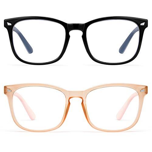 Blue Light Blocking Glasses Women Men-FEIDU 2pack Computer Fake Glasses HD Clear Lens Glasses