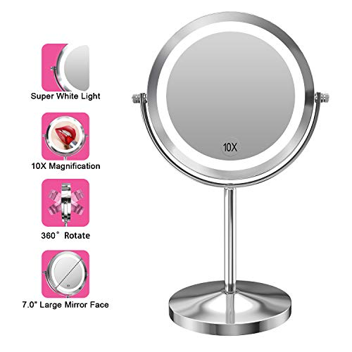 Gospire 10x Magnified Lighted Makeup Mirror Double Sided Round Magnifying Mirror Standing -