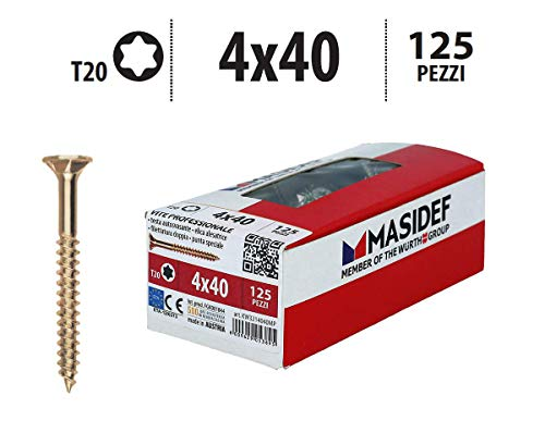 Masidef: Member of the Würth Group KW3214040MP - Tornillo profesional para madera Rapid 2000, torx pro galvanizado amarillo, 4 x 40, 125 unidades, 4 x 40 mm, piezas
