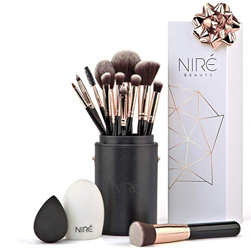NIRÉ BEAUTY Pro 12-Piece Makeup Brushes Set with Holder, Silicone Brush Cleaner and Blender - Rose Gold
