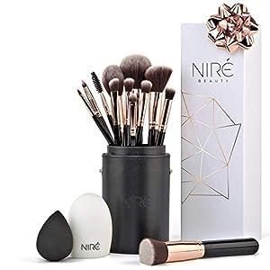 Niré Beauty Artistry Makeup brush set: Vegan Makeup Brushes with Makeup Brush Holder, Niré Beauty Blender and Brush Cleaner 5