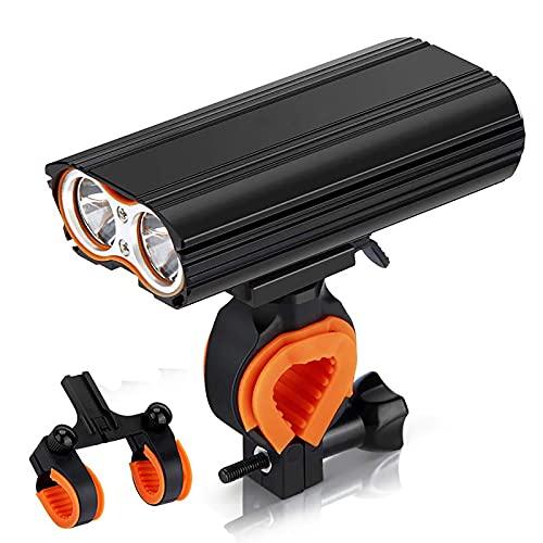 FGKLU 2000 Lúmenes Impermeable Luces Delantera Bicicleta, Alto Luz Bicicleta, IPX65 Impermeable, con Dos Soportes, para Carretera y Montaña- Seguridad para la Noche