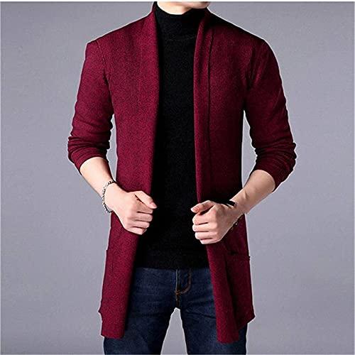 Męska jesienna dzianina dzianina sweter stały kolor Casual z długim rękawem Scarigan z workami Warunki gotującej długiej kurtki potu żakiet dla mężczyzn ciepłe ubrania,Red,L