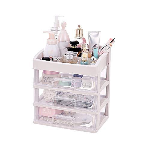 Organizador de almacenamiento cosmético transparente, caja de almacenamiento de joyas y cosméticos, caja de almacenamiento con cajón, diseño transparente, adecuado para encimera de baño o tocador