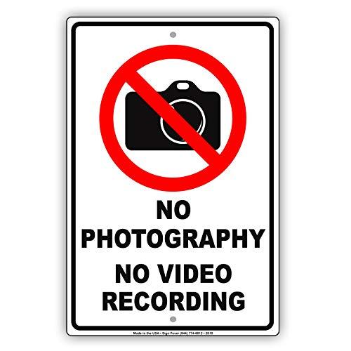 BCTS No Photography No Video Recording Política de Privacidad Aviso Divertido Señal...