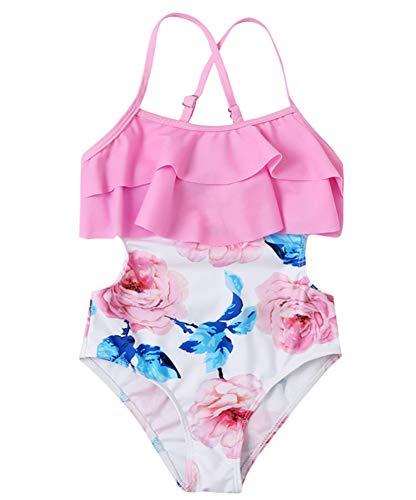 HANHOU Badeanzug Badeanzug Mädchen Kinder Badebekleidung Kinder Off Shoulder Badeanzug Beach Wear Pool Urlaub Schwimmoutfit Rock Set,Pink-M