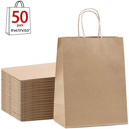 Switory Bolsa de papel Kraft de 50 piezas con asa, bolsa de regalo de compras marrón de 20x12x26,5cm para regalos de fiesta, embalaje, personalización, transporte, venta al por menor, boda