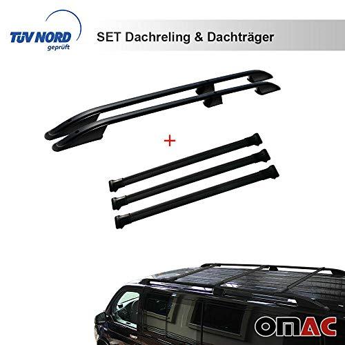 OMAC Dachreling Dachträger Set für T5 T6 ab 2003 Langer Radstand TÜV/ABE mit TÜV ABE Schwarz