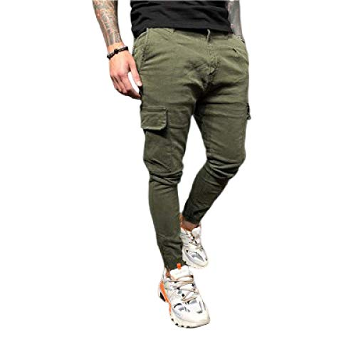 Hombre Monos de Color Liso Pantalones Casuales Pernera Recta al Aire Libre Multibolsillos Pantalones Cargo cómodos Resistentes al Desgaste M