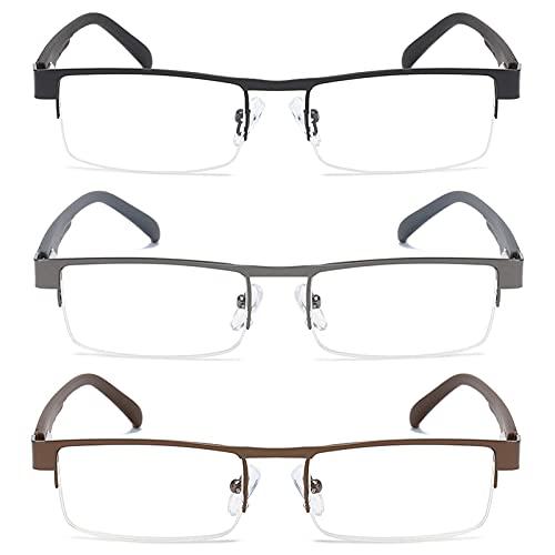 OWTXIS Paquete de 3 gafas de lectura de metal de media llanta para hombres, bloqueo de luz azul, marco de acero inoxidable, bisagras de resorte, Paquete de 3 (plomiza/negro/marrón), +3.0