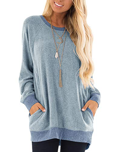 GADEWAKE Womens Casual Color Block Long Sleeve Round Neck Pocket T Shirts Blouses Sweatshirts Tops Gray Blue
