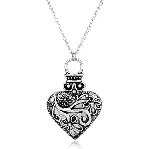 YUNMENG The Vampire Diary Necklace for Women Vintage Heart Flower Pendant Necklaces Charms Jewellery Necklaces for Teen Girls