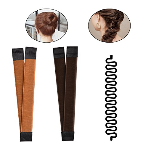 TIMESETL Twist Haarstyling Tool 3-in-1 Haarstyle Hilfe, Donut Hair Bun Maker Damen Haare Dutt Maker braun + Flechthilfe Haare Haar Flechten Tool
