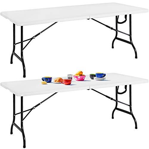 Casaria 2er Set Buffettisch Gartentisch Klappbar 183cm Kunststoff Metall Weiß Beistelltisch Klapptisch Campingtisch Koffertisch