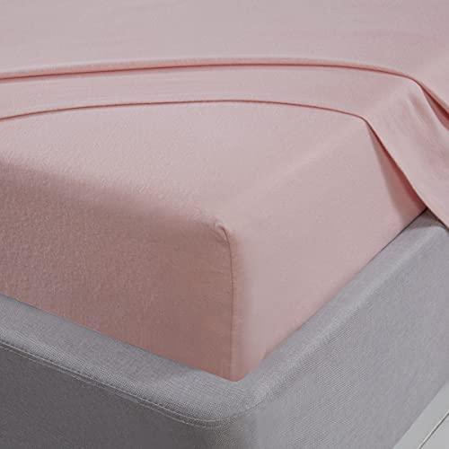Sleepdown Sábana encimera 100% Franela de algodón Cepillado de Lujo, Suave y Acogedor, Ropa de Cama – Rosa Rubor – Super King