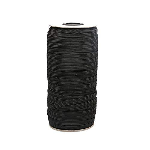 "Top Hunter Black 70-Yards Length 1/4"" Width Braided Elastic Cord/Elastic Band/Elastic Rope/Bungee/Black Heavy Stretch Knit Elastic Spool (Black)"