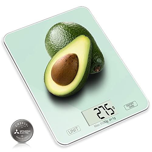 CORESLUX Digitale Küchenwaage, 1g bis 5 Kg Lebensmittelwaage, Elektronische Haushaltswaage mit LCD-Display ,Tara-Funktion Küchenwaage Backen und Kochen (Schwarz) (Weiß)