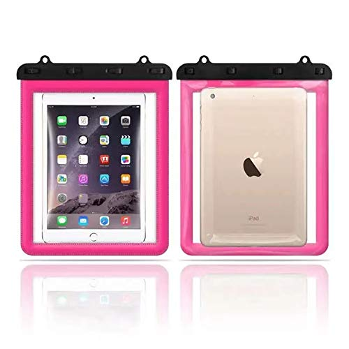PGZLL Universal Waterproof Tablet Pouch, iPad Tablet Case, Underwater Tablet Dry Bag with Lanyard Compatible with New iPad 10.2', iPad Air 10.2', Mini 2/4/5, ........ (red)