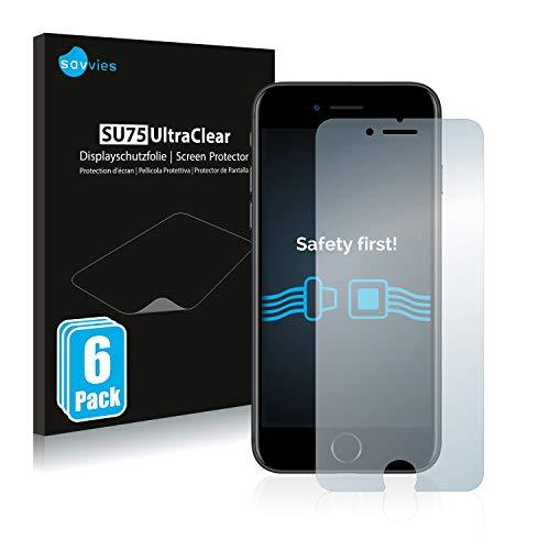 savvies 6-Pezzi Pellicola Protettiva Compatibile con Apple iPhone 7 8 Protezione Schermo Trasparente