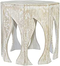 Crestview Collection CVFNR653 Bengal Manor Mango Wood Flame Hexagon Side Table Burnished Brown and White Finish Furniture