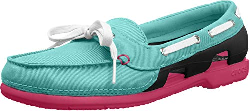Crocs Womens Beach Line Hybrid Lace Up Boat Shoes, Pool/Nautical Navy, US 5