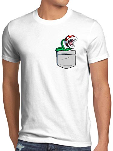 style3 Plante Piranha Poche T-Shirt Homme Pocket Mario Switch Snes, Taille:S, Couleur:Blanc