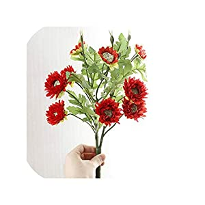 1PCS Artificial Mini Daisy Silk Flowers Bride Bouquet for Christmas Home Wedding New Year Decoration Fake Plants Sunflower,red