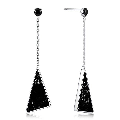 Byrhgood S925 Plata Esterlina Mujer Versión Coreana del Triángulo Pendientes Negros Pendientes de Personalidad de Moda 56.5 * 15mm