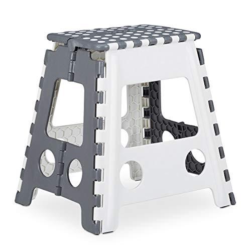 Relaxdays 1 x Tritthocker XL klappbar, einstufiger Klapphocker mit Griff, bis 120 kg, Kunststoff, 39,5 x 38,5 x 32 cm, grau/weiß